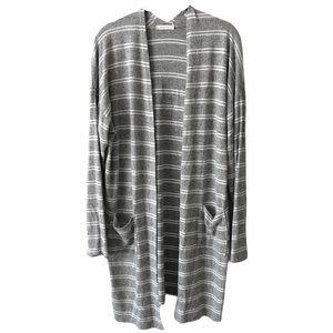 Reborn J Grey White Striped Long Cardigan Large